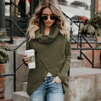 2019 Spring Autumn New Womens Sweaters Fashion Casual Cowl Neck Chunky Cable Knit Wrap Pullover Female Sweater Coats NO760