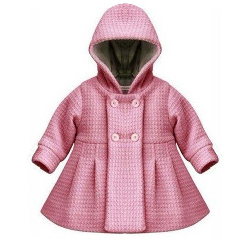 Thick Button Hooded Outwear 2017 New High Quality Fashion Baby Coat Autumn and Winter Cotton Lining Jacquard Coat 2 Color YY0556