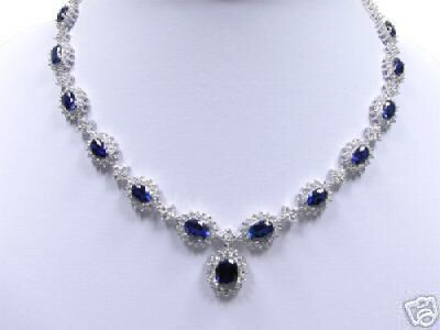 shipping@@Noble beautiful White Blue Crystal Necklace 18