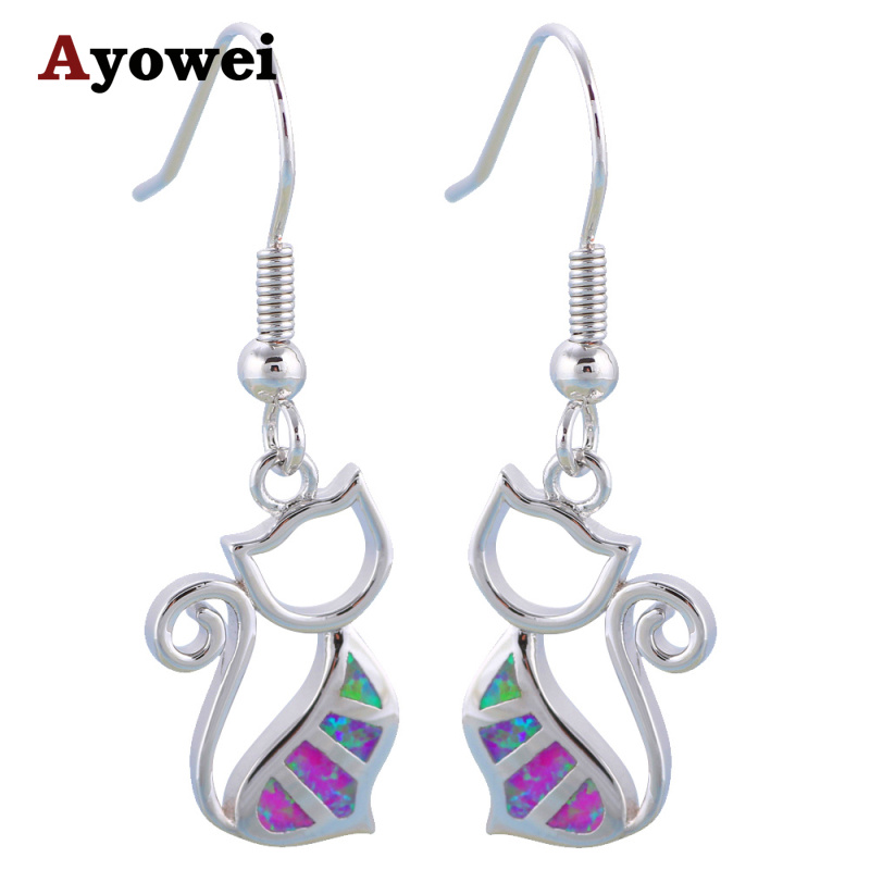 Ayowei Hot Sale Cat Design Pink Fire Opal 925 Silver Drop Øreringe - Smykker