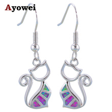 Ayowei Hot Sale Cat Design Pink Fire Opal 925 Silver Drop Earrings Black Friday Fashion Jewelry for Ladies OES628A