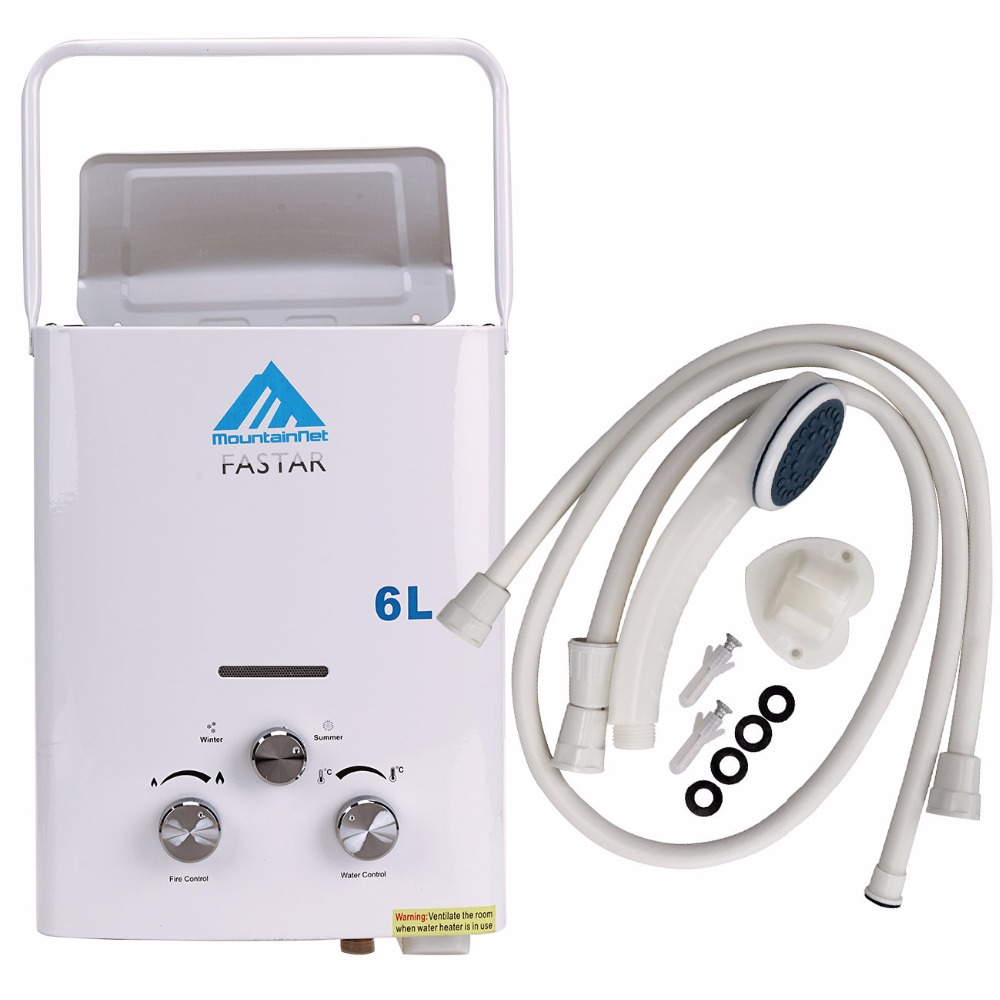 Ship from Germany! 6L Portable Outdoor Shower LPG Propane Gas Tankless Instant Hot Water Heater Boiler + Shower Head