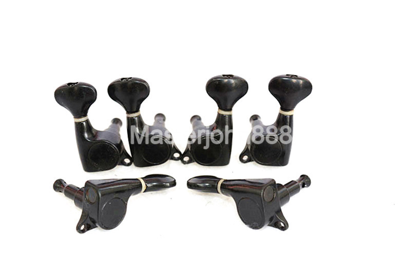1 Set of Fish Tail Acoustic Guitar Tuning Pegs Tuners Machine Head 3L+3R Black Free Shipping
