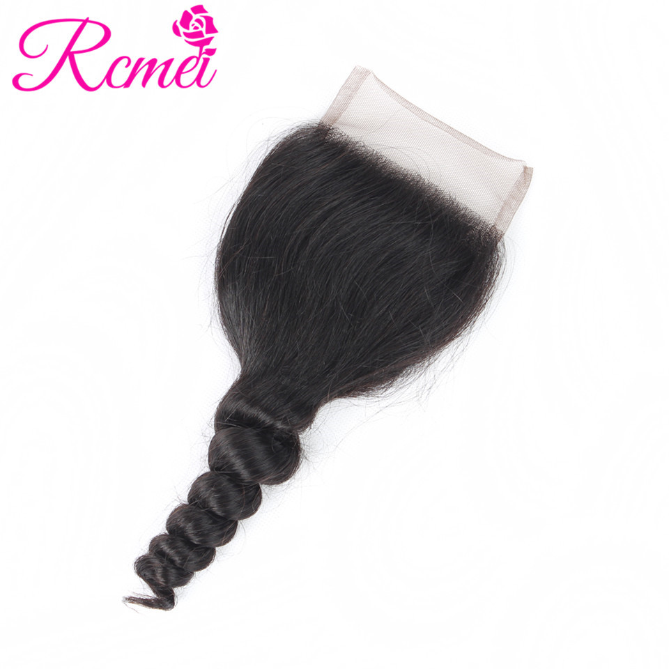 Rcmei Brazilian Loose Wave Closure Free Part 4x4 Inch Swiss Lace Closure Pre-Colored Free Part With Baby Hair Free Shipping