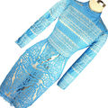 2016 Summer Women Blue Hollow Out Crochet Lace  Dress Women Embroidery Midi Bodycon Dress Floral Beach Guipure Lace Dress