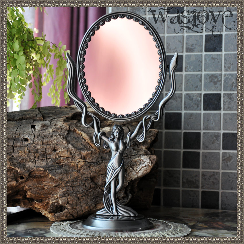 vintage oval 360 rotating embossed double face desktop table makeup cosmetic mirror mirror makeup home decoration