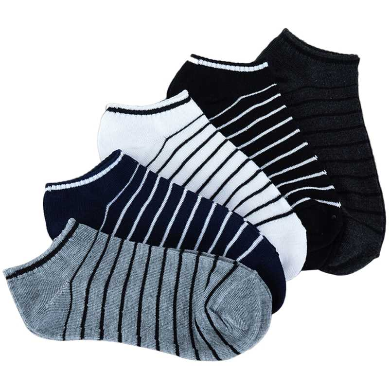 5 Pairs Comfortable Striped Men Unisex Short Ankle Socks Crew Low Cut Invisible