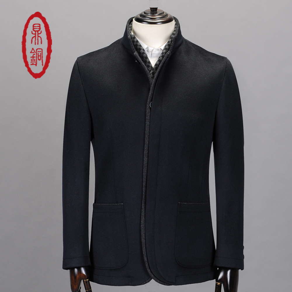 DINGTONG Men's Light Wool Cashmere Causal Jacket Coat Spring Autumn Single Breasted Double Layer Collar Slim Black Short Outwear