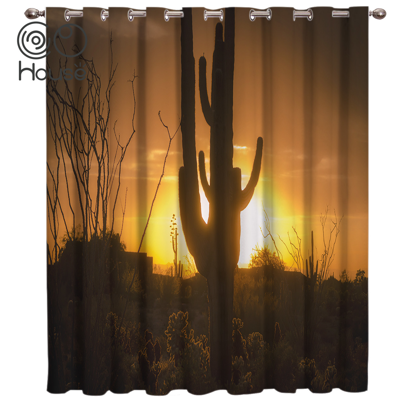 CoCoHouse Sunset Cactus Silhouette Spiny Orange Shrub Room Curtains Large Window Living Room Blackout Outdoor Kitchen Bedroom