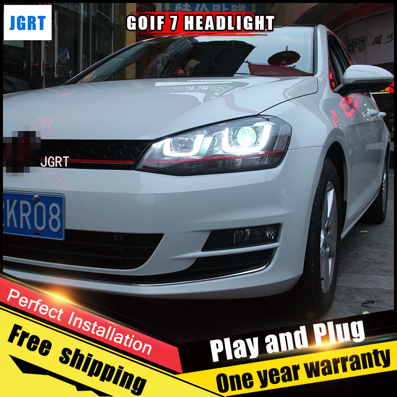 2PCS Car Style LED headlights for VW Golf 7 2013-2014 for Golf 7 head lamp LED DRL Lens Double Beam H7 HID Xenon bi xenon lens led headlights for vw volkswagen golf 6 mk6 2010 2014 uu type drl led headlights demon eyes