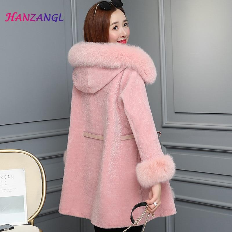 Lunga Cappotto Caldo Manica Pellicce 2018 rosa Lungo 2 1 Di Giacca wv7T88qz