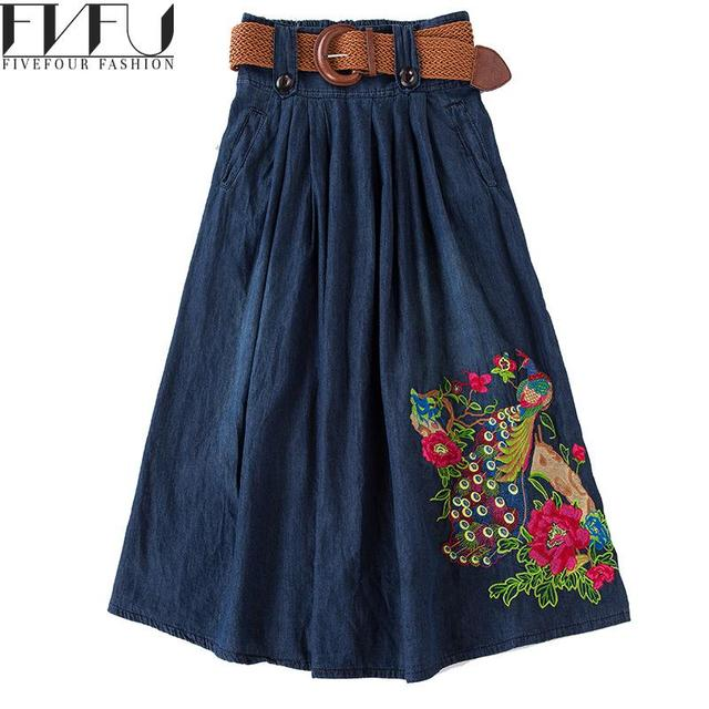 1cca0db8f77b29 Nieuwe Mode 2018 Maxi Rok Vrouwen Vintage Bloemen Geborduurd Denim Rok  Jeans Casual Oversized Lange Geplooide