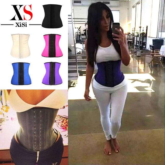 HOT 3 HOOk Steel Boned Women Body Shaper Belt Latex Waist Cincher Corselet Waist Trainer Corsets rubber Waist Trainer Cincher