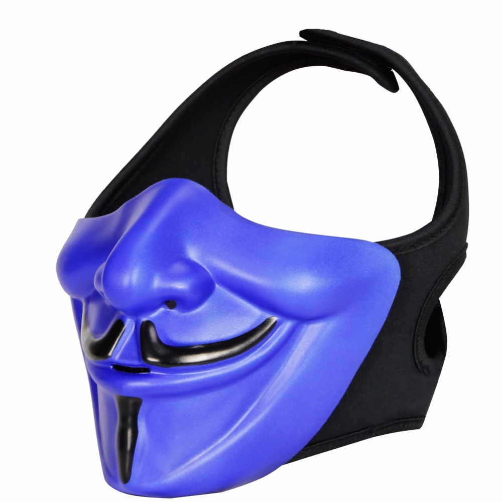 WosporT Tactical Mask Smiling Hannya Halloween Airsoft Masks FAST Helmet Mask For CS Shooting Cosplay Paintball Accessories