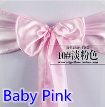 Baby pink colour high quality satin sash chair bow for chair covers sash spandex party and wedding decoration wholesale(China)