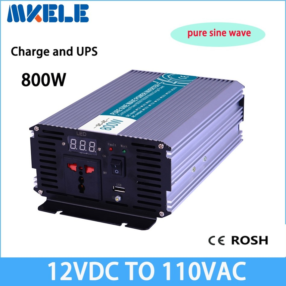 MKP800-121-C 800w UPS charge solar inverter 12vdc to 110vac off-grid Pure Sine Wave voltage converter LED Display p800 481 c pure sine wave 800w soiar iverter off grid ied dispiay iverter dc48v to 110vac with charge and ups