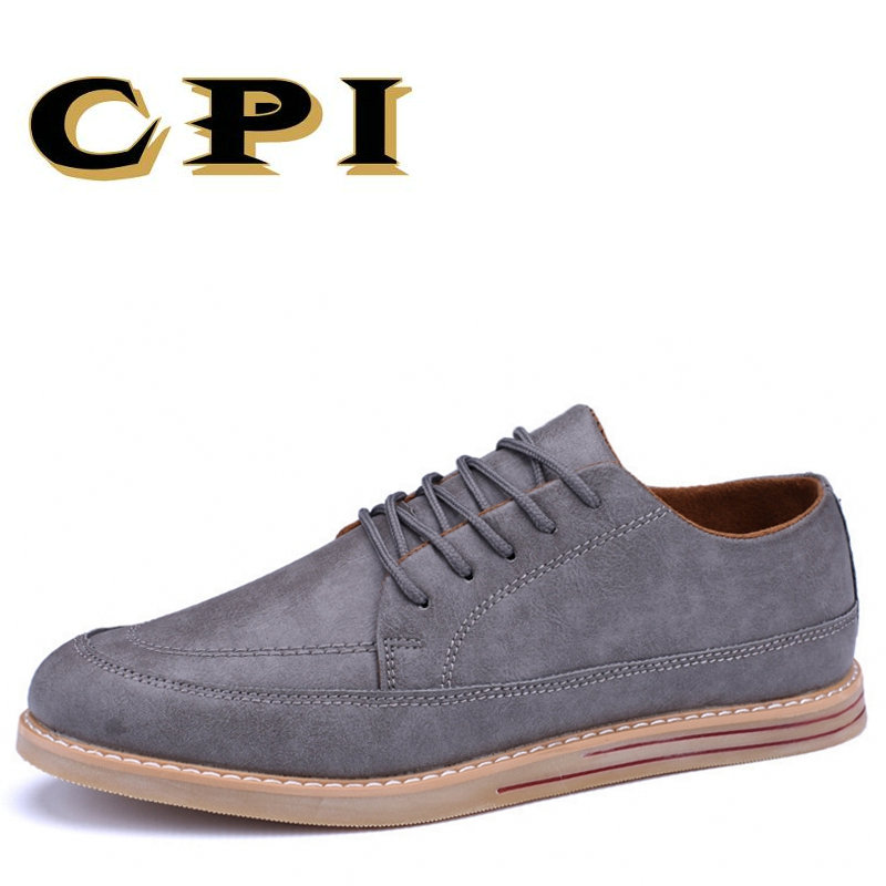 CPI High Quality Men Flats Casual New Leather Flat Shoes Men sneakers Fashion Lace Up Dress Shoes Comfortable Work Shoe PP-217 hot sale mens italian style flat shoes genuine leather handmade men casual flats top quality oxford shoes men leather shoes