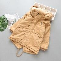 Boys Winter Hooded Bomber Long Jacket Kids Girl Fur Coat Outerwear Unisex Wholesale Lots Bulk Casual Cotton Children Clothes