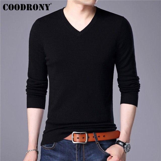 COODRONY Mens סוודרים קשמיר כותנה סוודר גברים טהור צבע סריגי למשוך Homme קלאסי מזדמן V צוואר צמר סוודר גברים 91009