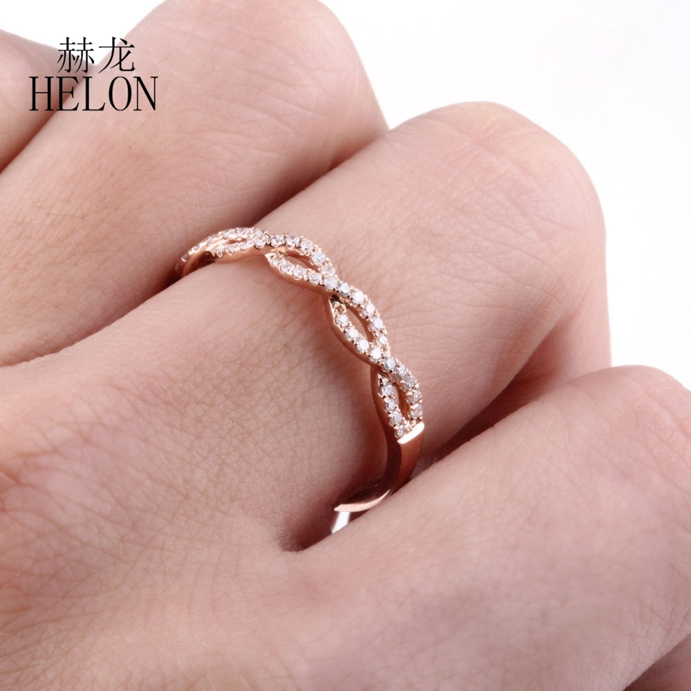 HELON Real Diamond Band Solid 10K Rose Gold Pave Setting Engagement ...