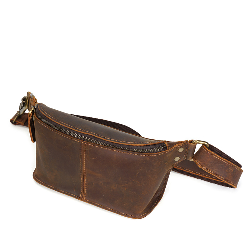 Waist Bag Vintage Genuine Leather Cowhide Belt Bum Pack Fanny Travel Pack Phone Pouch For Men