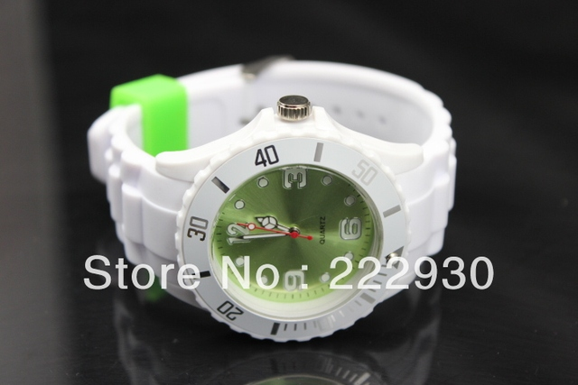 10pcs/lots Mix Colors Avaliable No Logo White Strap Colors Surface Watch Jelly Silicone Rubber Custom Logo Watch Free shipping