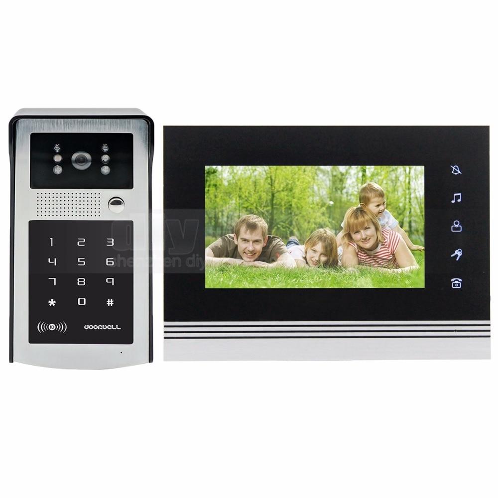 DIYSECUR 7 inch Touch Button Video Door Phone Intercom Doorbell IR Night Vision HD 300000 Pixels Camera