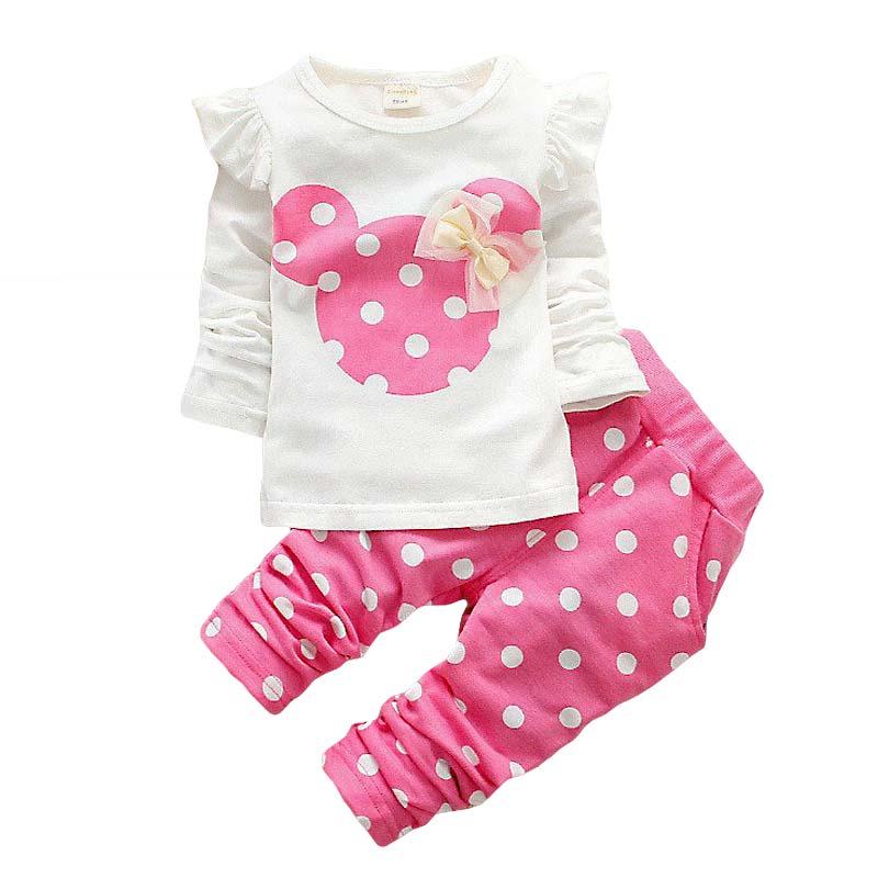 94c0e752b21ef 2016 Enfants Vêtements Printemps Automne de Bande Dessinée Filles Vêtements  Ensemble Bébé Garçons Minnie Vêtements Coton t-shirt Pantalon Vêtements  Pour ...