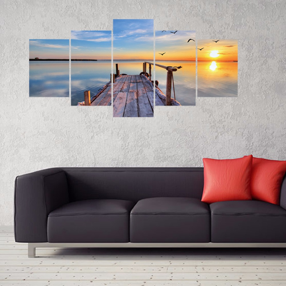 Home & Garden Spirited 5pcs/set 3d Sunrise Over The Lake Bridge Combination Wall Stickers Home Decor Sofa Wall Bedroom Poster Diy Pvc Art Mural Decals Buy Now