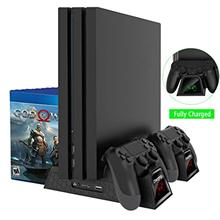 PS4 Vertical Cooling Stand PS4 Controller Charger with LED Indicators Charging Dock Station for PS4,PS4 Slim,PS4 Pro