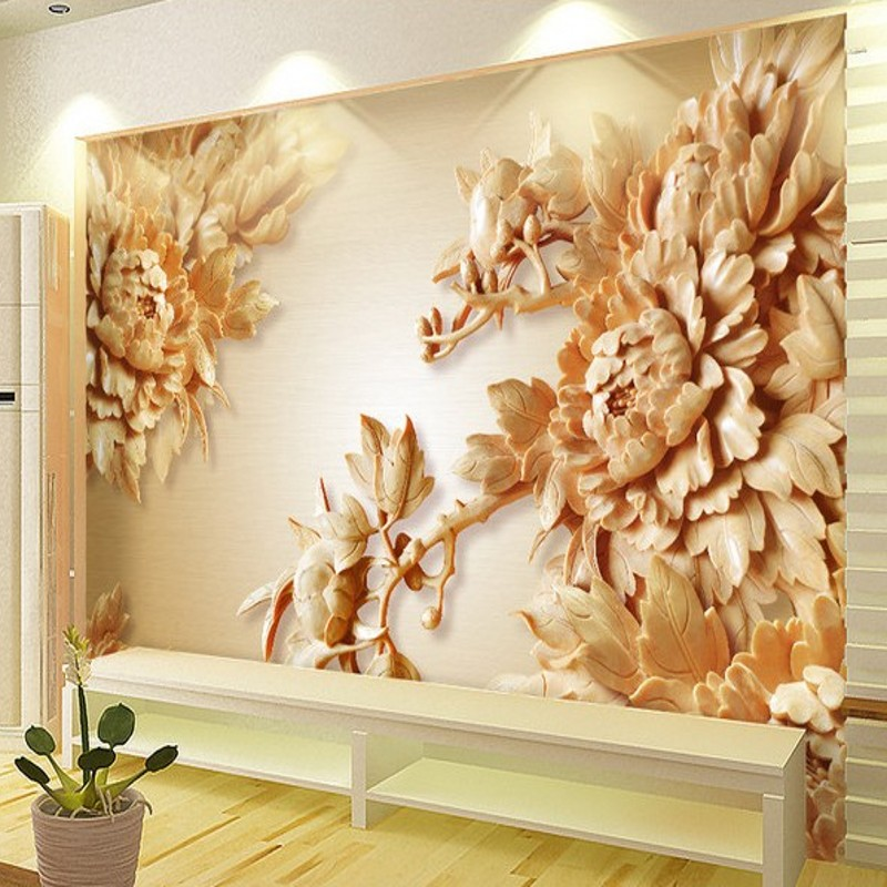 Beibehang  Papel De Parede Custom Wallpaper Wall Stickers Large Mural 3D Woodcarving Peony Flowers TV Backdrop For Walls 3 D