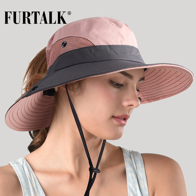 FURTALK Safari Sun Hats For Women Summer Hat Wide Brim UV UPF Protection Ponytail Outdoor Fishing Hiking Hat For Female 2019