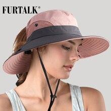 FURTALK Safari sombreros de sol de verano de las mujeres de ala ancha de  protección UV UPF de cola de caballo de caza al aire li. dead3af09692