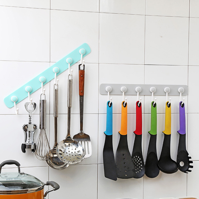 Kitchen Hook Wall Rack Hanger Bathroom Self Adhesive Punch Free 6 Link Rotated Strong Door Storage Holder Organizer Accessories
