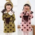 Осень и зима dot cat девочки одежда младенцы флис футболка верхняя одежда wt-1089