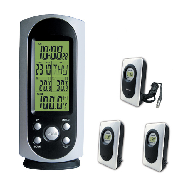 2017 Dykie Wireless Weather Station Digital Lcd Alarm Clock Indoor Outdoor Temperature Alert Backlight Sauna Thermometers