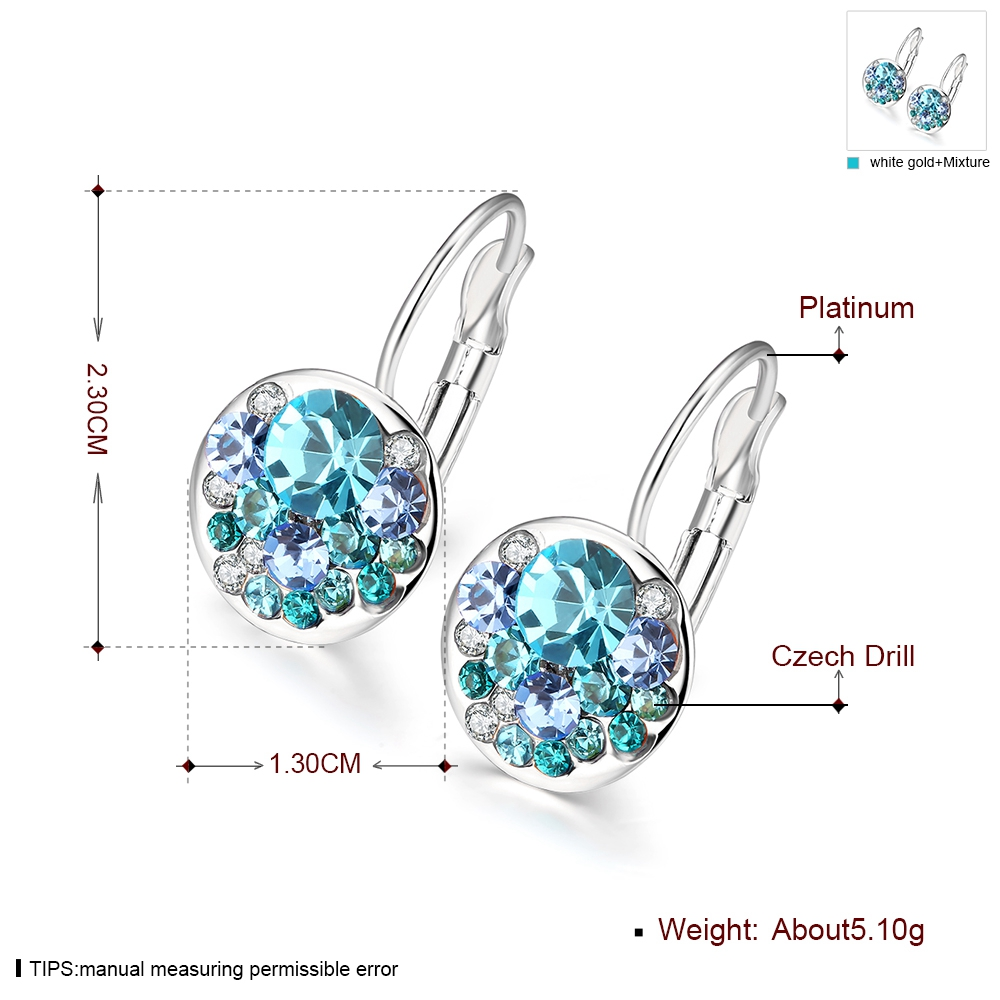2016 New Fashion Round Charming Stud Earrings with Czech Crystal Women Earrings Wholesale Jewelry Brinco