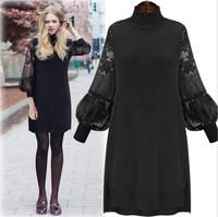Plus Size Turtleneck Long Sleeve Women S Dress Lace Stitching Basic Kinited Sweater Casual Outfits For