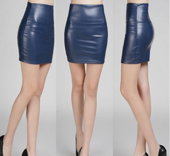 2015 fashion women PU faux leather skirt high waist bodycon tight ...