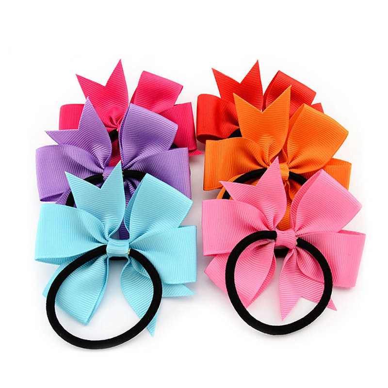 3 Inch Solid Boutique Grosgrain Ribbon Girl Bow Elastic Hair Tie Rope Hair Band Bows Diy Hair Accessories Gift For 2018