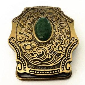 Image 3 - Pure Copper Shiny Vintage Antique Belt Buckle Brass & Jade Western Cowboy Mens Fashion Fine Accessory