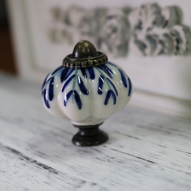 8pcs White And Blue Porcelain Drawer Cabinet Knob Pull Antique Dresser  Kitchen Cabinet Door Handle Ceramic
