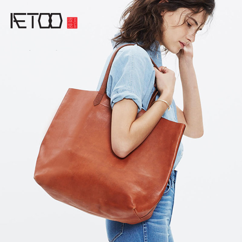AETOO Europe and the United States planted tannage cow leather Tuo package leather handbags handbag shoulder bag simple tote pac europe and the united states classic sheepskin checkered chain tide package leather handbags fashion casual shoulder messenger b