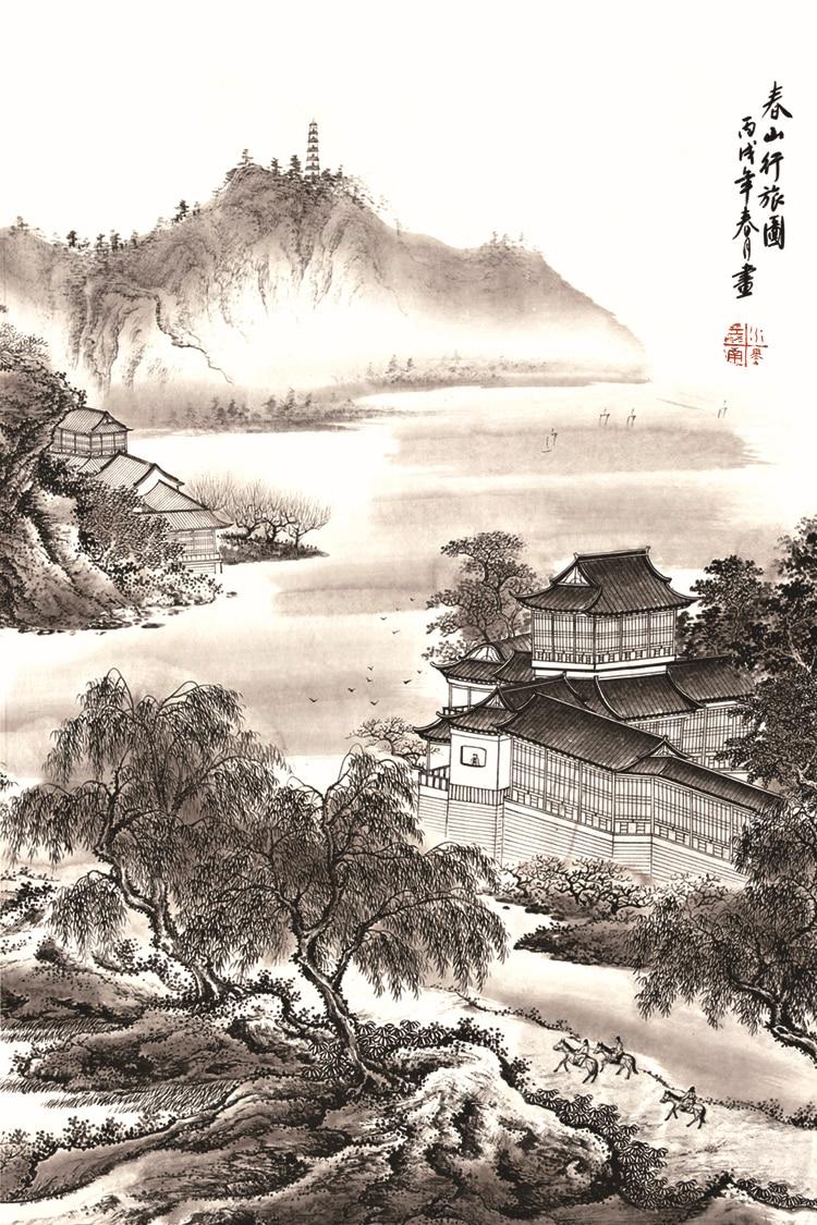 Pemandangan Pegunungan Hitam Putih - LukisanPemandangan.com