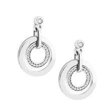 Clear CZ Circles Drop Earrings for Women Original 925 Sterling Silver Earrings Jewelry Fine Crystal Popular Girl Danlge Earrings