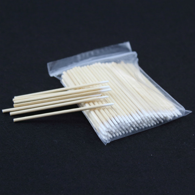100pcs Wooden Cotton Swab Cosmetics Permanent Makeup Health Medical Ear Jewelry 7cm Clean Sticks Buds Tip 5