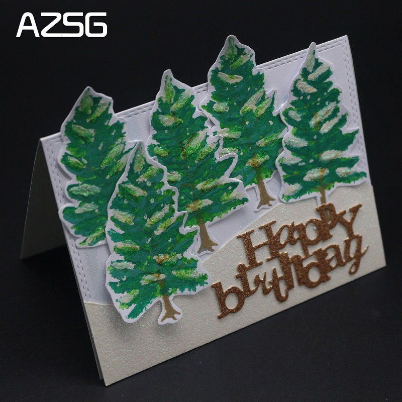 AZSG Christmas trees Cutting Dies and Clear Stamp Set for DIY Scrapbooking Photo Album Decoretive Embossing Stencial