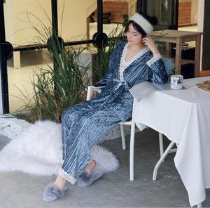 Image 4 - Fdfklak חדש סתיו חורף פיג נשים ארוך שרוול קטיפה חם הלבשת נשים פיג מה סט מתוק תחרה nightwear פיג מות