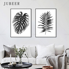 Nordic Style Minimalist Poster Simple Black and White Leaf Plant Double Frameless Decorative Painting For Living Room