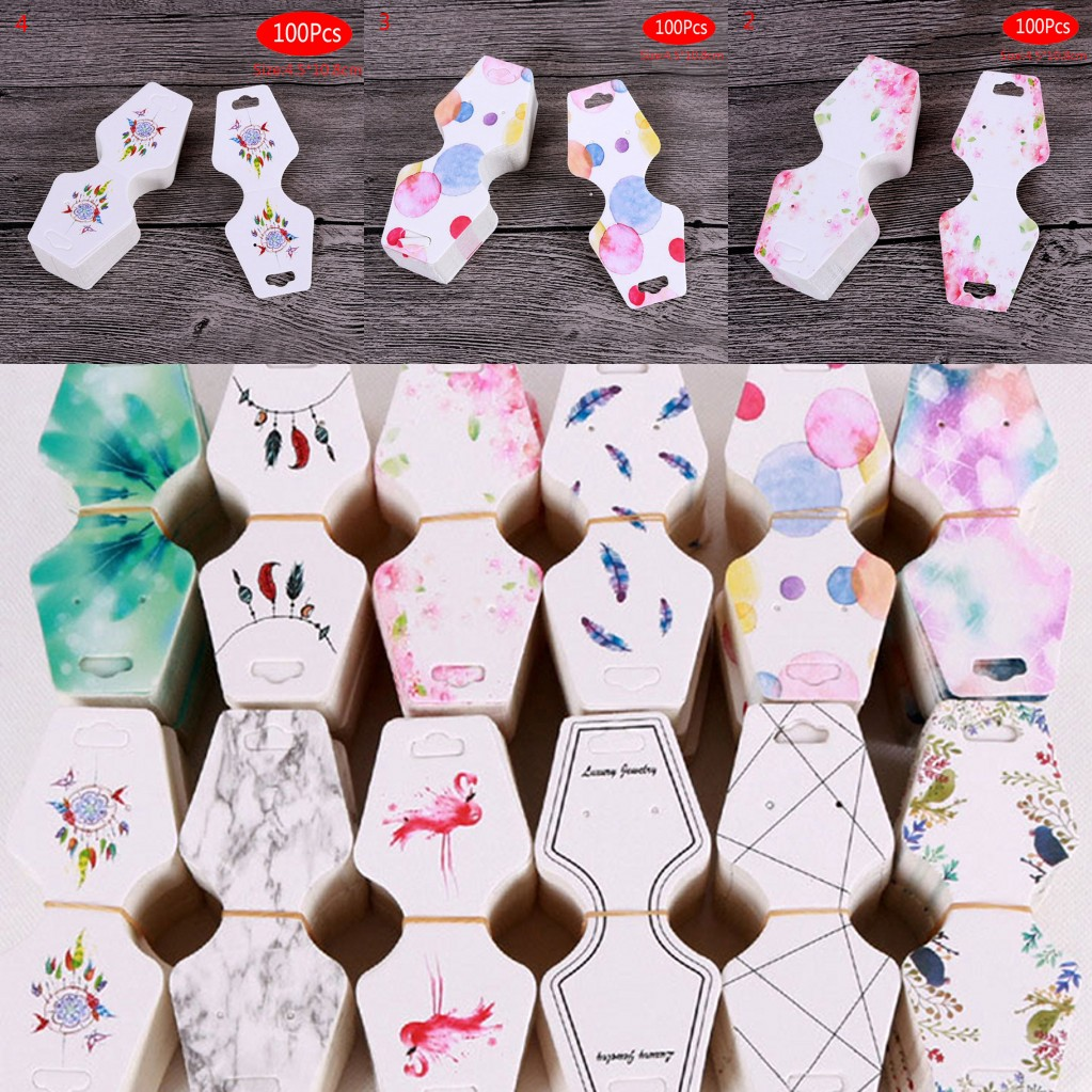 Knowledgeable Hwetr 100pcs Jewelry Paper Cards 12 Styles Printing Necklace Hang Tag Jewelry Display Cards Label Tag Organizer 4.5x10.8cm Fine Craftsmanship Jewelry Packaging & Display